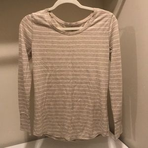 Neutral/ cream long sleeve striped tee